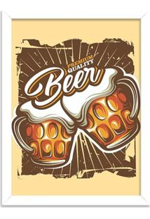 Quadro Decorativo Retrô Premium Quality Beer Branco - Grande