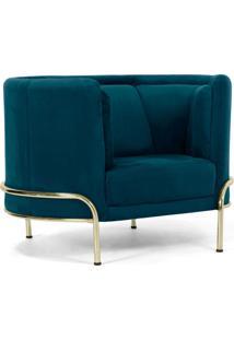 Poltrona Decorativa Base De Aã§O D'Ouro Luminne Veludo Turquesa B-66 - Lyam Decor - Azul - Dafiti