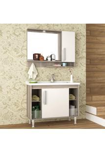 Conjunto Para Banheiro Gabinete Com Cuba, Espelho E Armário 2 Portas Brisa Móveis Bosi Barrique/Branco