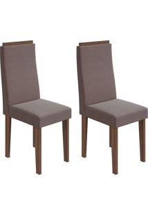 Conjunto De Cadeiras De Jantar 2 Dafne Veludo Rovere E Chocolate