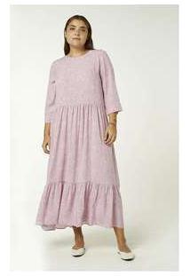 Vestido Longo Manga Longa Estampado Rosa