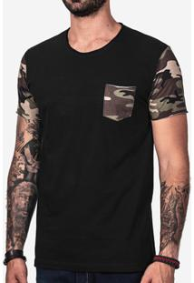 Camiseta Hermoso Compadre Manga Militar Masculina - Masculino-Preto