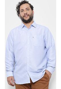 Camisa Social Delkor Plus Size Masculina - Masculino-Azul Claro