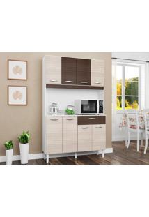 Cozinha Com 8 Portas Cassia Amêndoa/Capuccino - Lc Móveis