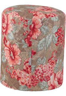 Puff Redondo Round Jacguard Floral E Rosa I