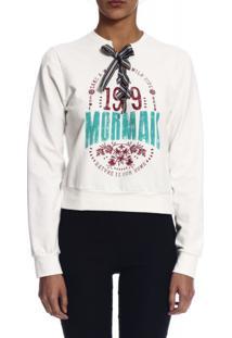Blusão Mormaii Moletinho Estampado Branco Gelo
