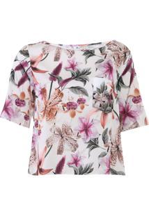 Blusa Lança Perfume Cetim Floral Off-White/Rosa