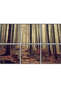 Conjunto Com 6 Quadros Decorativos Floresta Start Preto