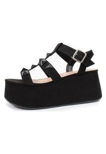 Sandália Plataforma Com Spikes Damannu Shoes Mika Suede Preto