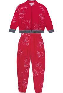 Conjunto Com Jaqueta E Calça Estampada Vermelho