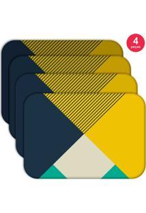 Jogo Americano Love Decor Wevans Abstrato Colorfull Kit Com 4 Pçs