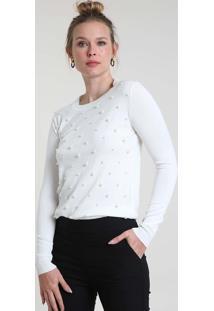 Suéter Feminino Básico Em Tricô Com Pérolas Decote Redondo Off White