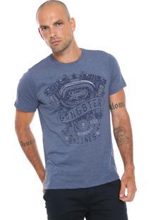 Camiseta Gangster Lettering Azul