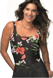 Maiô Body Básico Floral Demillus 98141 Preto