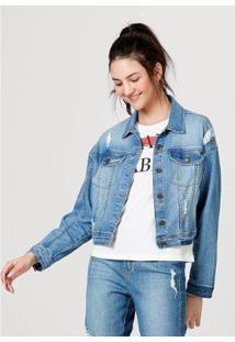 Jaqueta Jeans De Algodão Com Bolso Feminina - Feminino