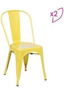 Or Design Jogo De Cadeiras De Jantar Retrã´ Amarelo 2Pã§S