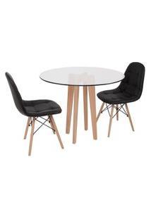 Conjunto Mesa De Jantar Em Vidro 90Cm Com Base Vértice + 2 Cadeiras Botonê - Preto