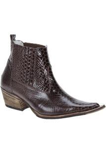 Bota Couro Texana Via Boots Masculina - Masculino-Marrom