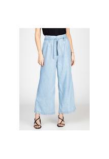 Calça Jeans Leve Bloom Pantacourt Ampla Com Cinto Delavê