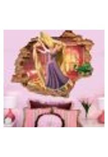 Adesivo De Parede Buraco Falso 3D Infantil Rapunzel 03 - G 82X100Cm