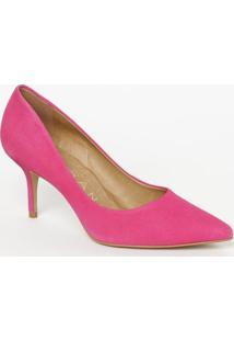 Scarpin Em Couro Acamurçado- Pink- Salto: 7,5Cmcarrano