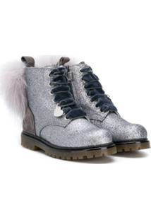 Monnalisa Ankle Boot Com Brilho - Prateado