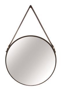 Espelho Redondo Em Metal Preto E Couro P