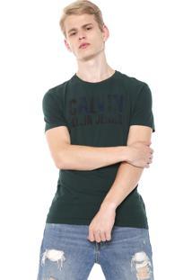Camiseta Calvin Klein Jeans Lettering Verde