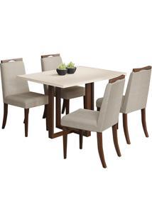 Conjunto De Mesa C/ 4 Cadeiras Bélgica - Volttoni - Castanho / Of White
