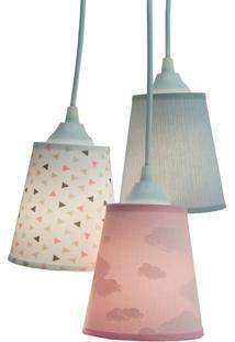 Lustre Pendente Luminária Crie Casa Infantil Nuvens Tons De Rosa E Cinza