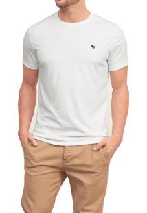 Camiseta Manga Curta Abercrombie Clássica Branca