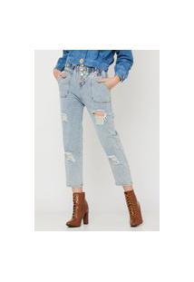 Calça Jeans Crorela Boyfriend Azul Clara
