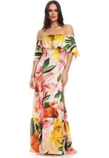 Vestido Clara Arruda Longo Decote Babado - Feminino-Bege+Dourado