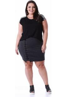 Blusa Plus Size Com Aplicação De Paetê Miss Masy - Feminino-Preto