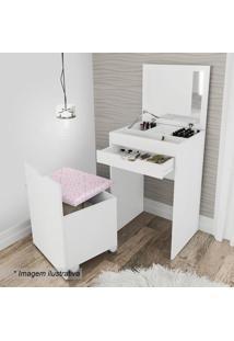 Penteadeira Compacta- Branca & Rosa- 85X54X45Cm-Tecnomobili