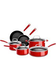 Conjunto De Panelas De Alumínio Esmaltado 6 Peças Empire Red Kitchenaid Ki994Cv