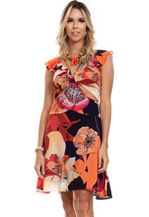Vestido Clara Arruda Detalhe Frontal 50556 Multicolorido