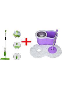 Kit Limpeza Vassoura Mop Spray Com Reservatorio + Spin Mop Balde Com Esfregao Centrifuga Inox