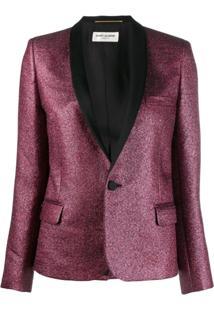 Saint Laurent Glitter Tuxedo Blazer - Vermelho