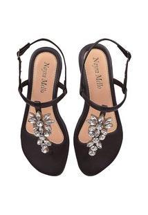 Sandália Feminina Fio Pedraria Flor Latikas Shoes Preto