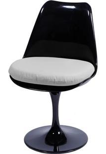 Cadeira Saarinen Tulipa Preta Assento Branco