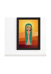 Quadro Nossa Senhora De Guadalupe Moldura Preta 22X32Cm