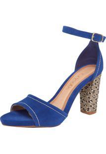 Sandália Crysalis Camurção Azul/Bege/Preto