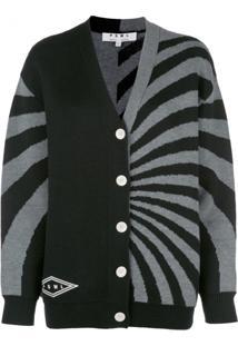 Proenza Schouler White Label Cardigan De Tricô Com Listras - Preto