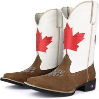 Bota Country Sapatofran Texana Rebento Bico Quadrado Canadá Branca e2289c72153df