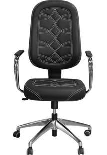 Cadeira Pethiflex Pp-02Gcbc Giratória Couro Preto