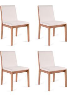 Conjunto Com 4 Cadeiras De Jantar Una Branco E Castanho