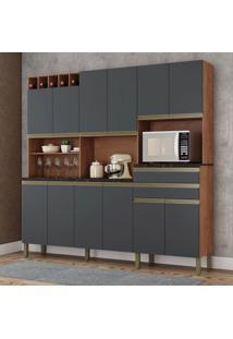Cozinha Compacta Malbec Prime 12 Pt 2 Gv Castanho E Chumbo