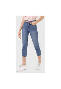 Calça Cropped Jeans Only Slim Estonada Azul