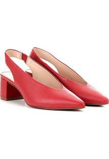 Scarpin Couro Loucos & Santos Salto Baixo Chanel - Feminino-Vermelho